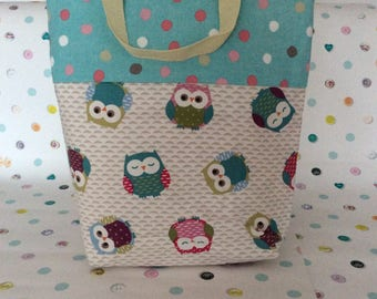 Owl and spots Tote/shopper lined with unzipped inside pocket