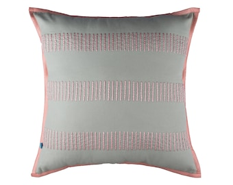 Throw Pillow Cover 18x18 // Pattern // Striped // Decorative // Modern // With Piping // Handmade // Embroidered // Pastel // Pink on Gray