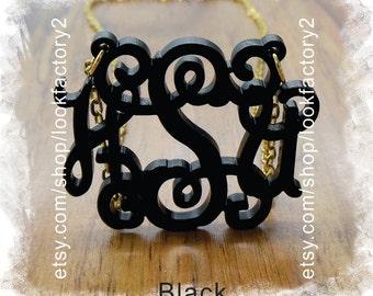 Acrylic Monogram Necklace ( Monogram 3 Initial Custom Jewelry ) - Beautiful Personalized Gift , Monogram Gift