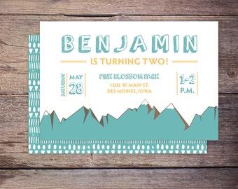 Mountain Birthday Invitation, Outdoor Lover, Print at Home Birthday Invitation, Boy birthday invite, Printable Birthday Invitation