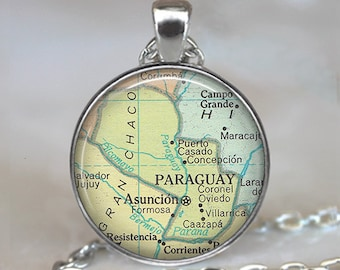 Paraguay map necklace, Paraguay map pendant, Paraguay necklace, Paraguay pendant, Ascuncion map South America map key chain key ring key fob
