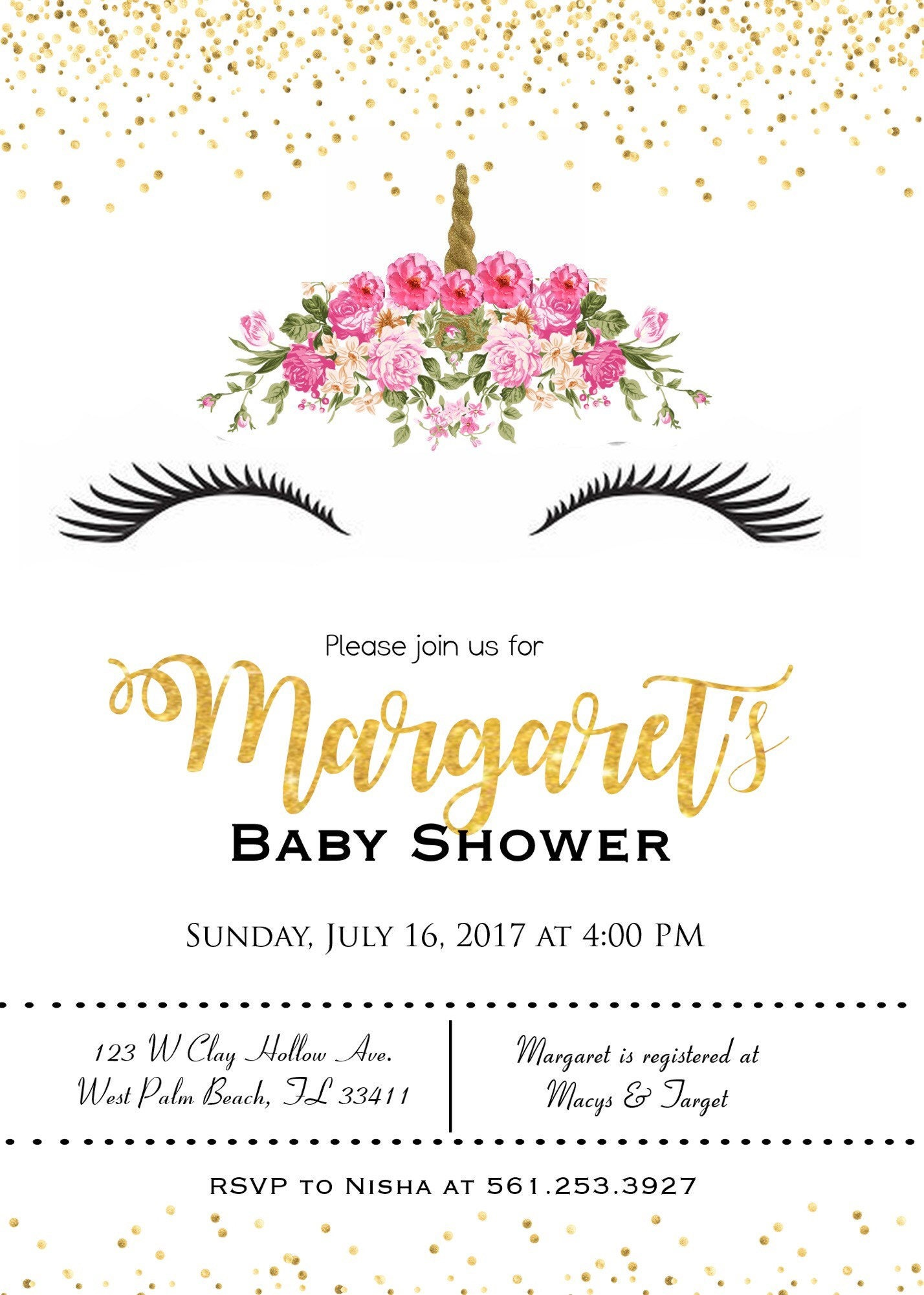 Unicorn baby shower invitations, it\'s a girl, girl baby shower, pink ...