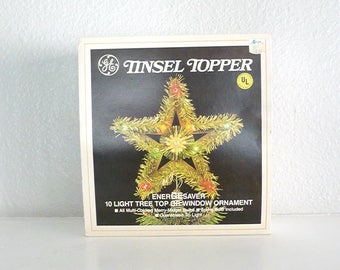 Vintage Tinsel Topper 10 Multi-Colored Light Star Tree Topper or Window Ornament