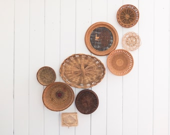 Set of 9 vintage wall baskets   wall basket collection