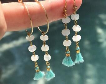 Moonstone tassel jewelry, boho jewelry, boho wedding, tassel earrings, moonstone earrings