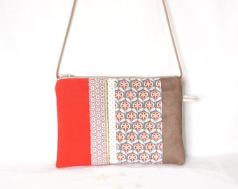 Pouch bag, bag in taupe suede and cotton printed