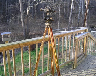Very Nice 1939-40 Keuffell and Esser Surveyor's Theodolite Transit With Tripod and Case