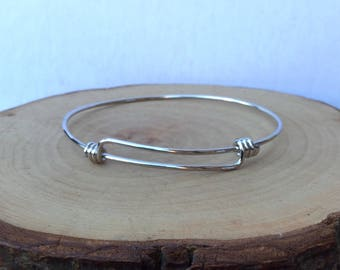 Silver adjustable bangle bracelet wire charm jewelry gift for her simplicity