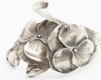 Reed & Barton Sterling Silver Floral Pansy Spoon Ring, MADE in Your Size (652)