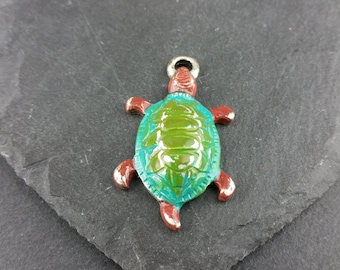 Large turtle/tortuoise hand painted with patina