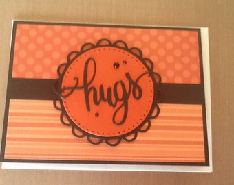 Handmade hugs card letting someone know your thinking of them