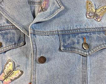 Vintage Retro Denim Together Jacket embroidered butterflies mid length