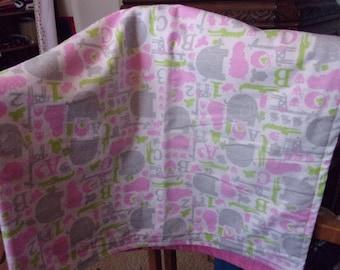Pink Elephants Flannel Crib Blanket
