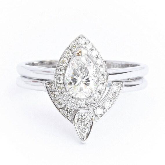 Pear Diamond 05ct Halo Wedding Ring Set Unique Pear Diamond