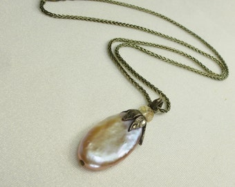 Purple Lavender Bronze Pearl & Pink Oregon Sunstone Pendant Necklace Sterling Silver Leaf Wire Wrapped Handmade in USA