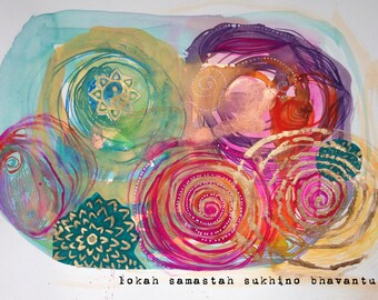 lokah samastah, yoga art for home, yoga art for bedroom, mantra, yoga painting, yoga wall art, yoga artwork, yoga studio decor, yoga gifts