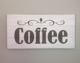 Coffee sign rustic coffee sign wood pallet coffee sign farmhouse coffee sign