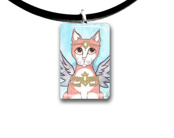 Orange Tabby cat, Fantasy art glass tile pendant, Angel, fairy cat, orange and white cat