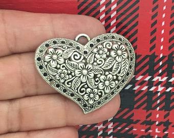 2 Silver Heart Charm Pendant SP0805