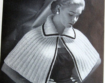 Crochet Pattern Vintage Womens Cape Shawl One Size Fits Most Instant Download