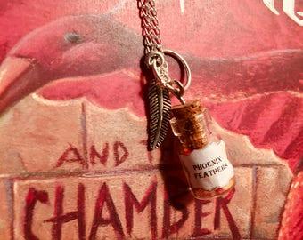 Phoenix Feather Bottle Charm Necklace