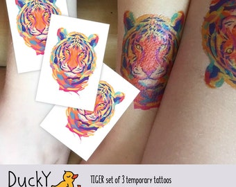 Set of 3 temporary tattoos Tiger. Watercolor design, abstrast jungle animal. Jungle party favors, tiger party favors. Beautiful tiger tattoo
