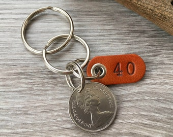 40th birthday gift, 1978 British coin keychain, English anniversary, UK present for him, man, husband, brother, son, uncle, boyfriend