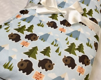 Organic, Padded, Baby Play Mat, Woodland, Animal, Floor Mat, Bears, Mountains, Trees, Activity Mat, Nursery, Bedding, Baby Quilt, Baby Gift