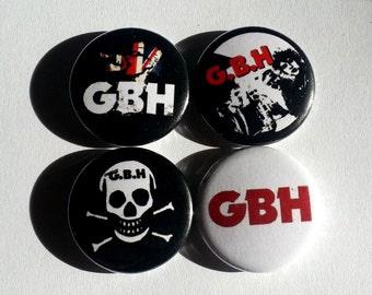 "4 x GBH 1"" Pin Button Badges ( punk rock music )"