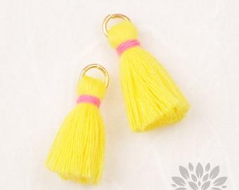 T002-CO-YP// Yellow, Pink Cotton Tassel Pendant, 4pcs, 23mm