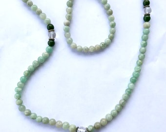 Adventurine Mala, with Jade, 8 mm, 108 beads