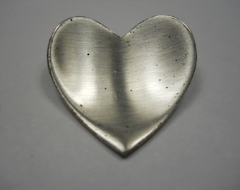 Vintage Orb Heart Sterling Silver Brooch Pin
