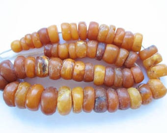 antique baltic amber beads necklace tablet disk 79 grams 琥珀色的珠