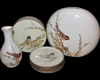 White & Brown Nature Home Decor ~ Vases / Coaster Sets ~ Otagiri Bird / Pussy-willows White Lacquered Trinket Box / 2 Porcelain Woodland