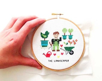 Completed cross stitch. Funny gift for landscaper. Custom Cross Stitch portrait. gardener gift. Handmade hoop art gift