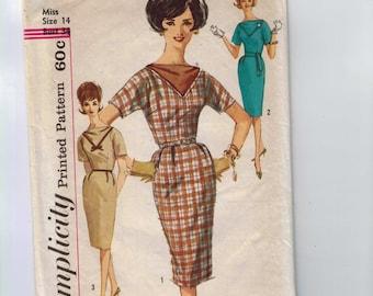 1960s Vintage Sewing Pattern Simplicity 7072 Jiffy Sheath Dress Size 14 Bust 34 1967