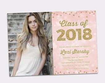 JUNE SALE Graduation Invitation - Class of 2018 Pink & Gold High School Grad Party - Graduation Celebration - College Graduation Invite Prin