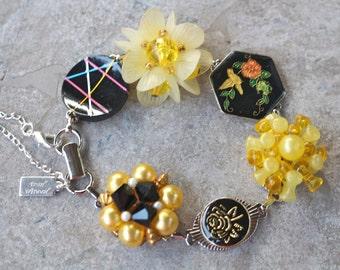 Bridesmaid Gift, Vintage Earring Bracelet, Silver, Upcycled, Antique, Cluster, Flower, Yellow, Black, Jennifer Jones, OOAK, Butterfly Garden