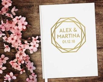 Geometric Wedding Guest Book, Modern, Personalized, Minimalist