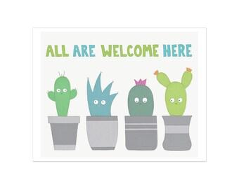 Impression d'art, tous sont les bienvenus ici, impression de la chambre de bébé, succulentes d'impression, Cactus Art, Art de pépinière de Cactus, succulentes crèche de l'Art, célébrer la diversité