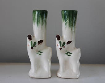 Vintage Ceramic Deer Bud Vase Set, Green and Cream, Marked 25, Set, Home Decor