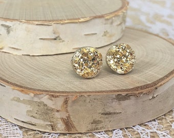 Druzy Earrings - Gold - 10mm