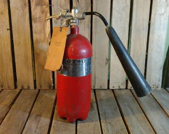 Small Fire Extinguisher, Co-Two Vintage Red Fire Extinguisher