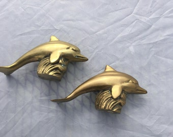 Vintage Brass Dolphins, Pair of Brass Dolphins, Mid Century Modern Dolphins