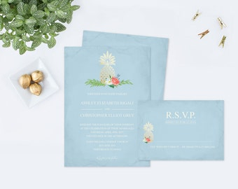 Pineapple Wedding Invitation, Editabel Text PDF Invitation Template, Invite That Can Be Edited, Floral Peach and Pastel Light Blue Faux Gold