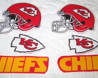 "Kansas City Chiefs ""NO SEW"" Appliques 2 helmets 2 arrows 2 chiefs"