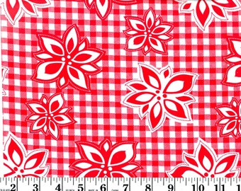 1 Yard, Red and White Poinsettia on Gingham