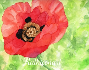 Red Poppy Print from Original Watercolor