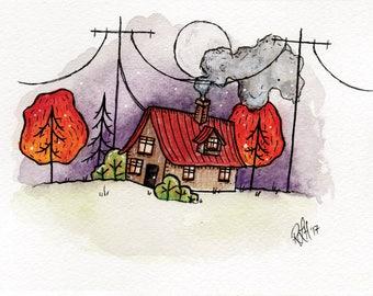 Watercolour House Print