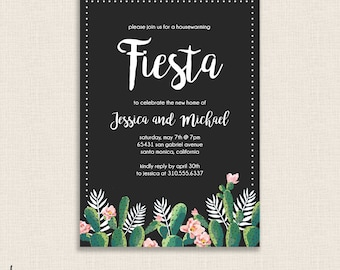 MODERN FIESTA - DIY Printable Housewarming Party Invitation - Brush Calligraphy - Cactus, Cacti, Calligraphy - Tropical Design